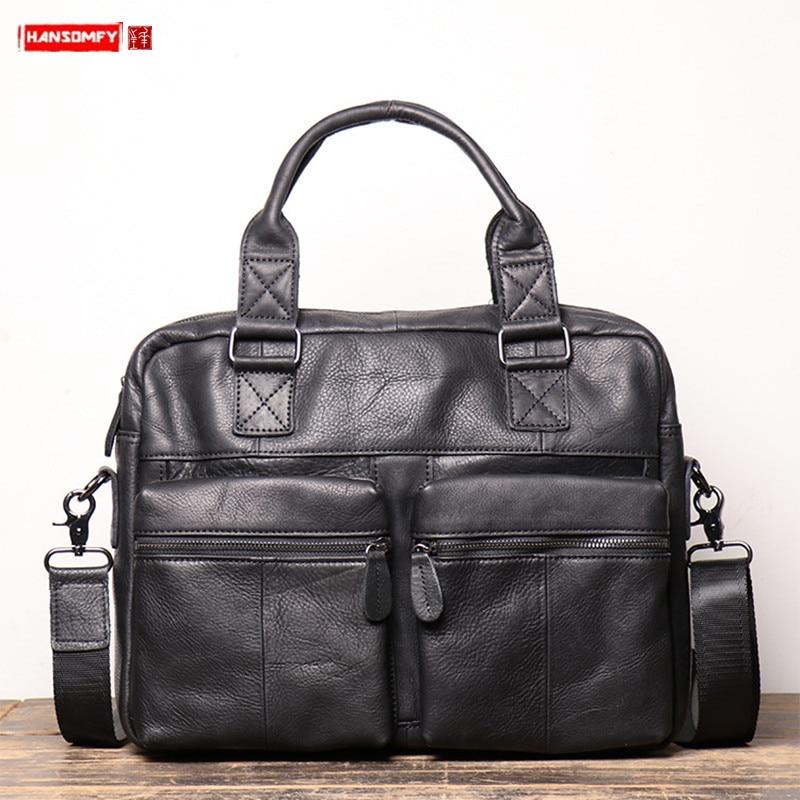 Genuine Leather Men's Handbag Large Capacity Men Portable Briefcase Frosted Leather Shoulder Crossbody Bag 14 Inch Computer Bag