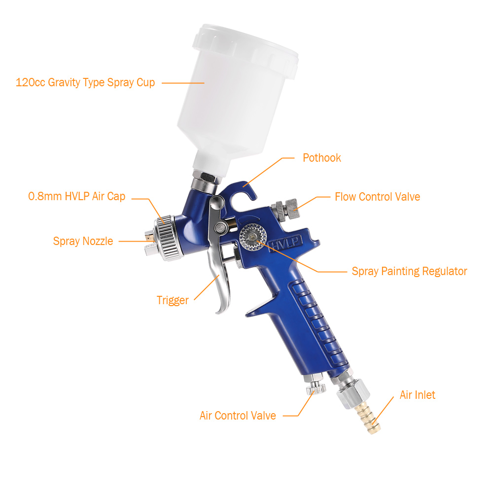 Hff7534327e634a0589555de5eab4af03z - HVLP spray gun professional touch-up mini paint sprayer for toy leather furniture and car reparing painting