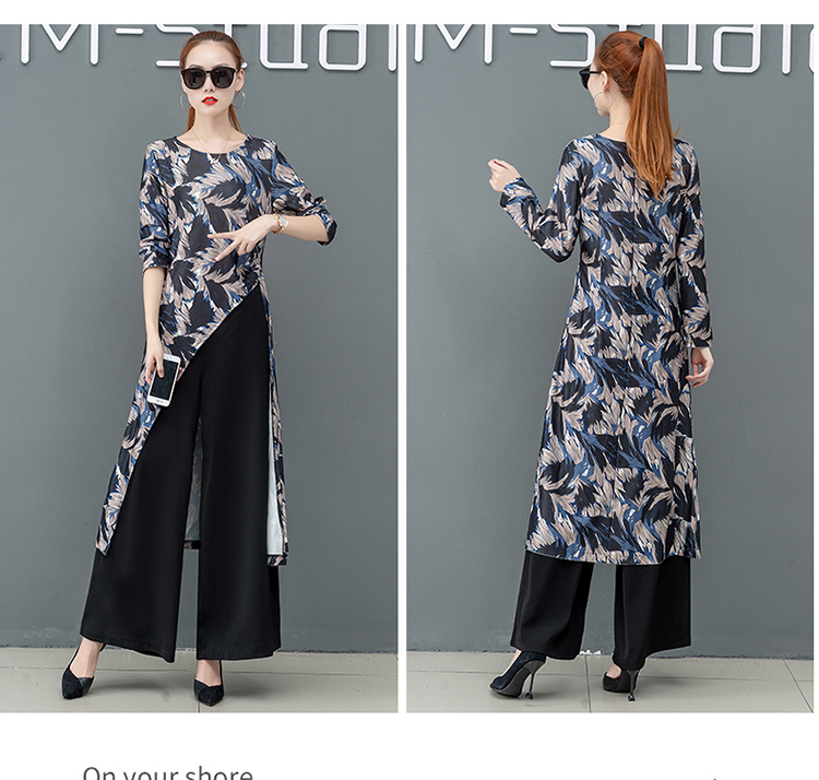 Printed Two Piece Sets Outfits Women Plus Size Splicing Long Tops And Wide Leg Pants Suits Elegant Office Fashion Korean Sets 56