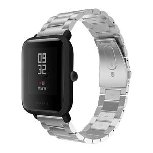 Image 2 - 20 มม.สร้อยข้อมือสำหรับXiaomi Huami Amazfit Smartสมาร์ทนาฬิกาสายโลหะสแตนเลสสตีลเข็มขัดสำหรับAmazfit Bipสายรัดข้อมือ