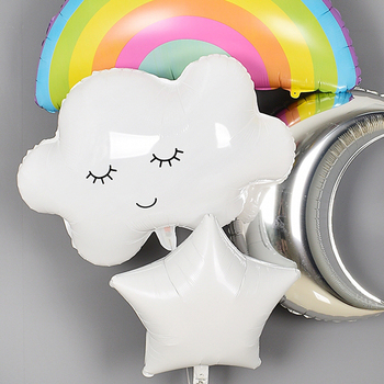 Rainbow Smile white Cloud Balloons Birthday Party Wedding Accessories Decoration Helium Balloons sun boy girl toy image