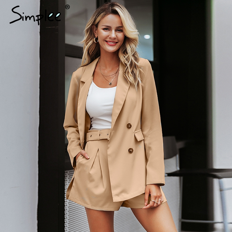 Simplee Elegant Two-pieces Women Short Suit Casual Streetwear Suits Female Blazer Sets Chic 2019 Office Ladies Women Blazer Suit