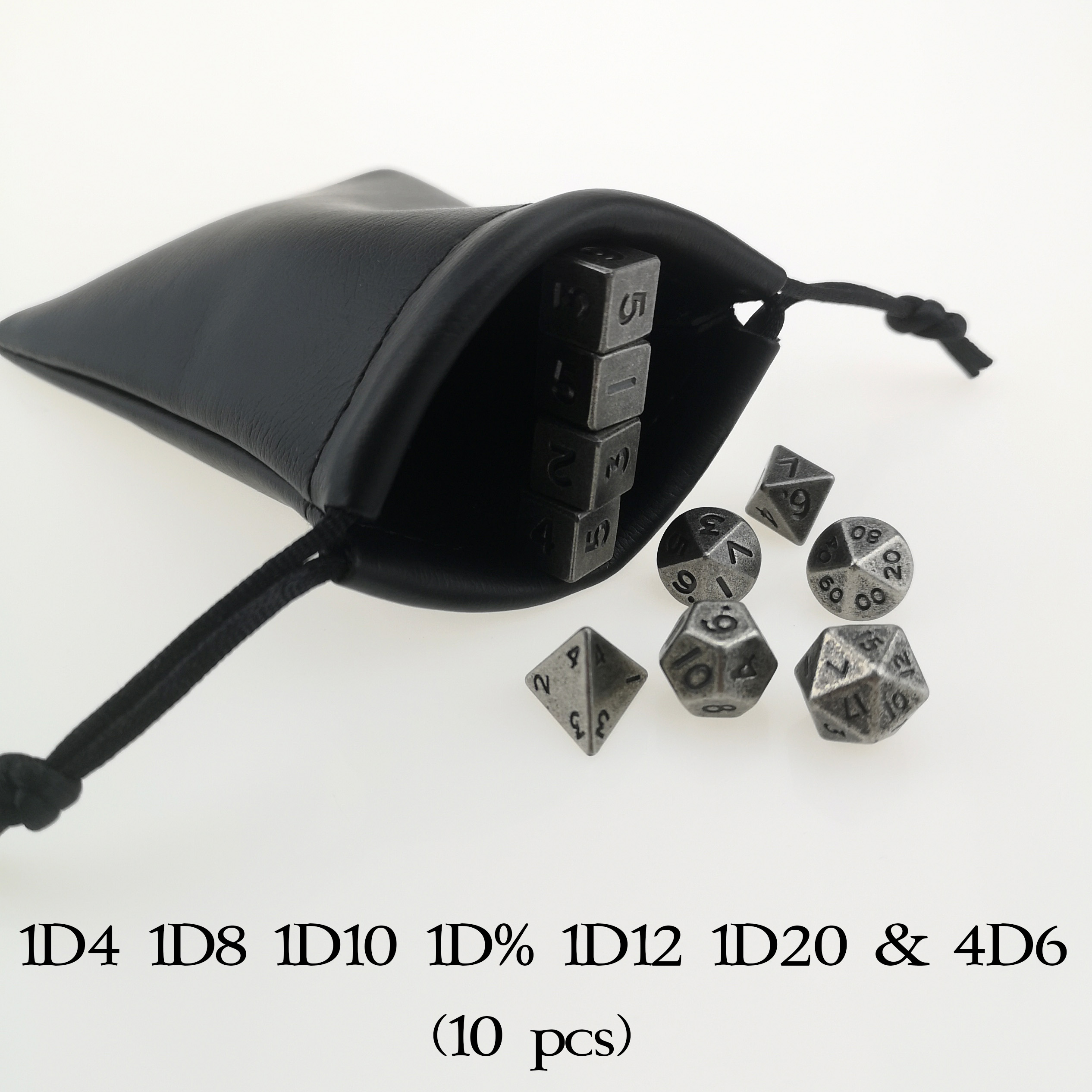 Rollooo 10mm MINI Metal Dice Set Standard 7 + 3 Extra D6 Total 10pcs Antique Color With Pouch