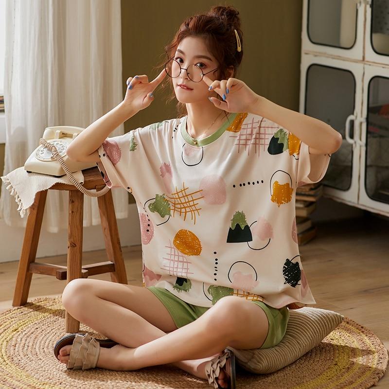 BZEL Fashion Women's Sleepwear Sets Cute Cartoon Femme Pijamas Pyjma Short Sleeve Shorts Homewear Spring Summer Ladies Underwear