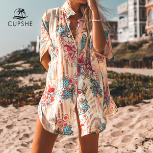 Image 1 - CUPSHE Floral Print Buttoned Cove Up Sexy Long Loose Shirt Robe Capes Women 2020 Summer Beach Bathing Suit Beachwear