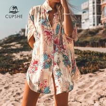 CUPSHE Floral Print zapinana na guziki Cove Up Sexy długa luźna koszula szata peleryny kobiety 2020 letni plażowy strój kąpielowy kostiumy kąpielowe
