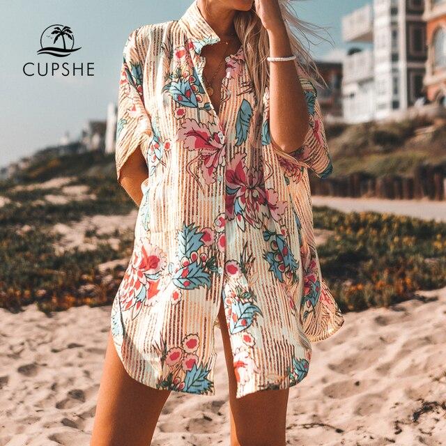 CUPSHE Stampa Floreale Con Bottoni Cove Up Sexy Lungo Allentato Della Camicia Tunica Mantelle Donne 2020 Della Spiaggia di Estate Costume Da Bagno Beachwear