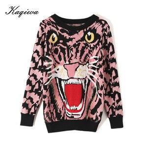 Розовый свитер ранней весны для женщин 2020 новый супер огненный пуловер Тигровая сетка красный узор свободный ленивый вязаный пуловер shein ...