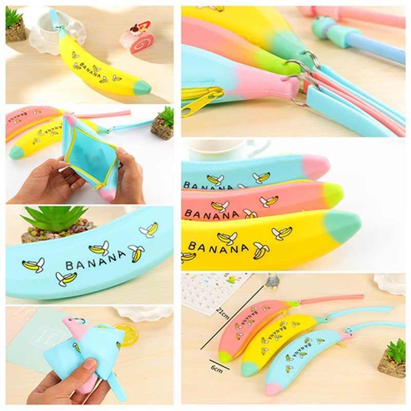 Творческий Банан пенал для девочек Kawaii Силиконовая ручка сумки для хранения милые Канцтовары офисный школьный расходные материалы