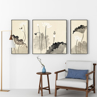 Chinese Painting Picture Frame Landscape Mural Oil Paintings Decoration For Study Living Room 3PC Photo Frame For Family Picture