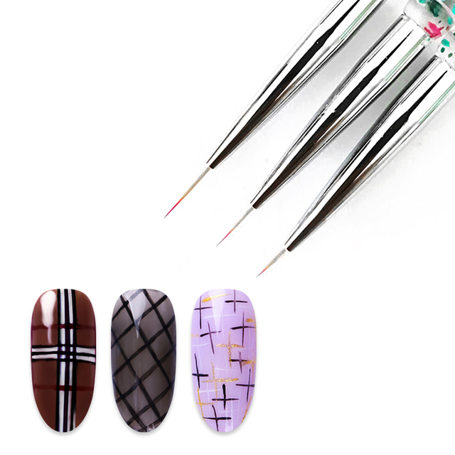 3Pcs/Set UV Gel Drawing Painting Nail Liner Brush Acrylic Nail Pen French Nail Mixed Colors Gourd Handle Nail Art DIY Tools 2