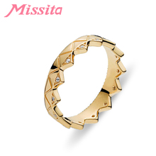 MISSITA Classic Gold Exotic Crown Rings for Women Wedding Finger Ring Gift Brand Ladies Fashion Jewelry anillos mujer
