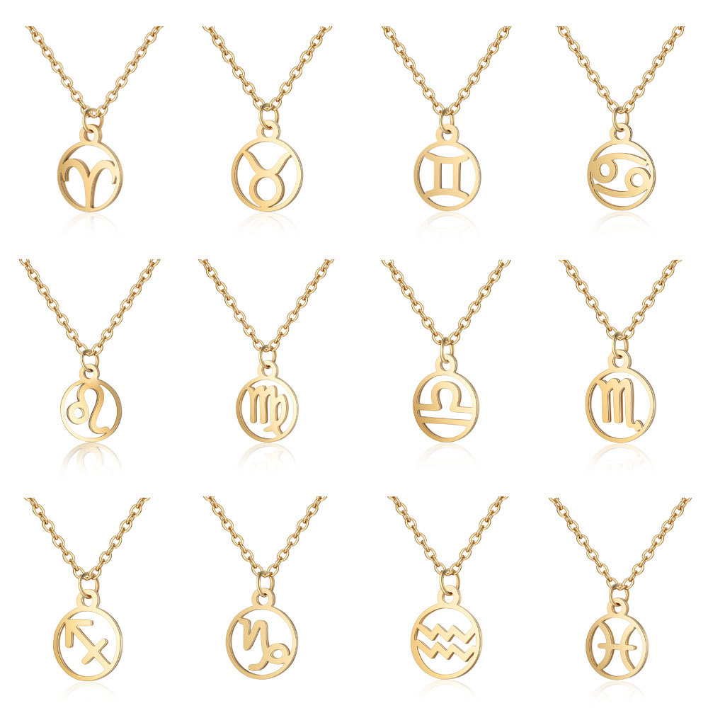 Gold Stainless Steel <font><b>12</b></font> <font><b>Constellation</b></font> <font><b>Pendant</b></font> <font><b>Necklace</b></font> Round Coin Hollow <font><b>Zodiac</b></font> <font><b>Sign</b></font> Statement Clavicle Chain <font><b>Necklace</b></font> image