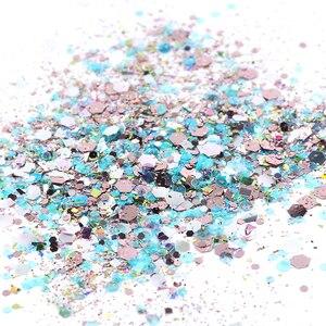 Image 3 - 8 kutu holografik parlak tırnak tozu karışımı altıgen Sparkly Nail Art gevreği Charm Glitter pul manikür dekorasyon seti LA1506 08