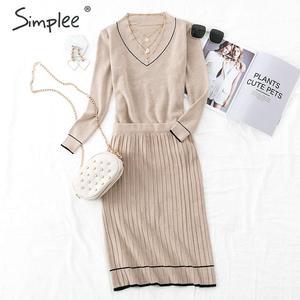 Image 3 - Simplee vestido plisado elegante de dos piezas para mujer, vestido de punto con cuello de pico, suéter de otoño para mujer, vestidos sueltos de oficina para mujer, vestidos de invierno