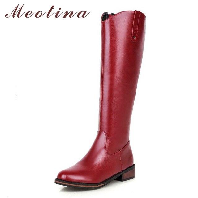Meotina Botas de invierno de tacón cuadrado para mujer, botines occidentales con cremallera, tacón medio hasta la rodilla, Nuevo rojo de talla grande 34 43