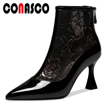 CONASCO 2020 New Euro Style Fashion Women Patent Leather Summer Ankle Boots Embroider Mesh Pointed Toe Back Zipper Boots Woman