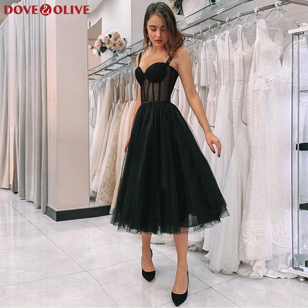 Black Tea-Length Short Cocktail Dresses 2020 Sweetheart Neck Formal Party Prom Gowns Women Graduation Homecoming Robe Sukienki