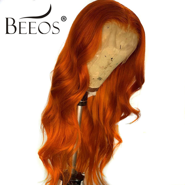 $ US $70.72 13*6 Deep Part Lace Front Human Hair Wig Body Wave Orange Color Human hair Bleached Knots Peruvian Remy Hair