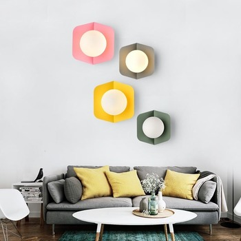 Modern Nordic Colorful Macaron Candy Ball LED Wall Lamp Bedroom Bedside Light Balcony Courtyard Sconce Lights Wall Decor Art