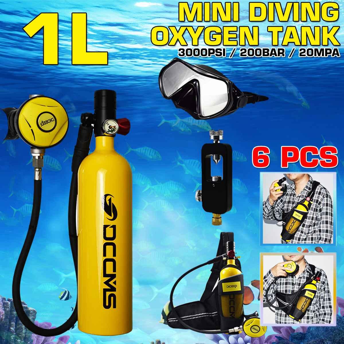 DCCMS DS-610 6pcs/set 1L Portable Diving Oxygen Tank Divers Spare Oxygen Equipment Leisure Diving Mini Scuba Tank(China)