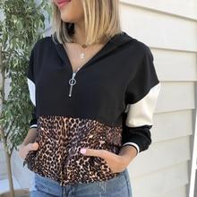Spring Ladies Long Sleeve Hoodie Pullover Womens Leopard Patchwork Zipper Sweatshirt Autumn Woman Pocket Black New