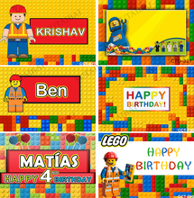 Colorful Lego Photography Backdrop for Children Happy Birthday Backgrounds for Photo Studio Customize Vinyl