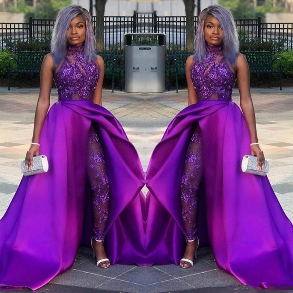 2019 Classic Jumpsuits Prom Dresses With Detachable Train High Neck Lace Appliqued Bead Luxury African Party Gowns