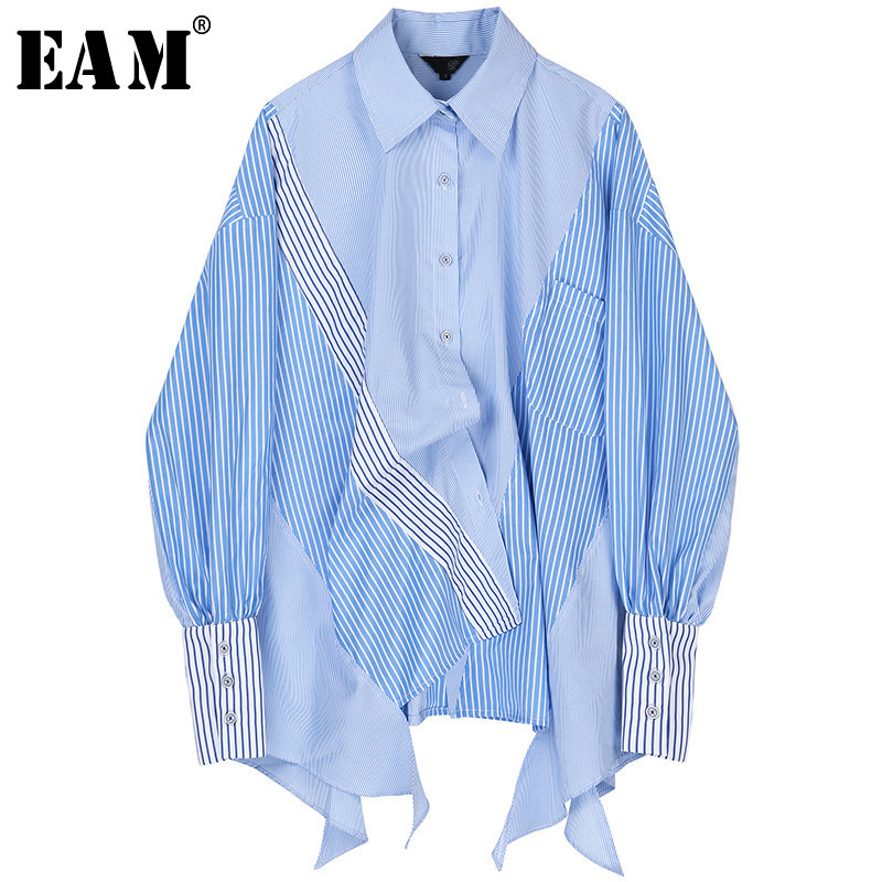 [EAM] Women Striped Spliced Big Size Asymmetrical Blouse New Lapel Long Sleeve Loose Fit Shirt Fashion Spring Autumn 2020 JZ687
