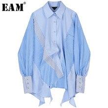 بلوزة نسائية مخططة [EAM] مقاس كبير غير متماثلة قميص بأكمام طويلة غير متماثل قميص مناسب لربيع وخريف 2020 JZ687