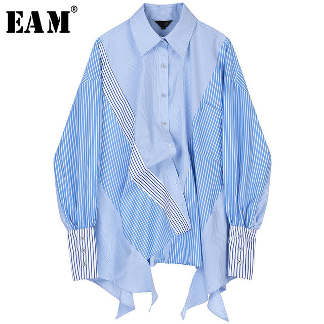 [Eam] Vrouwen Gestreepte Gesplitst Groot Formaat Asymmetrische Blouse Nieuwe Revers Lange Mouwen Loose Fit Shirt Mode Lente Herfst 2020 JZ687