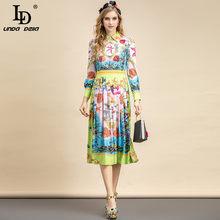 LD LINDA DELLA Autumn Fashion Runway abito Vintage donna colletto rovesciato bottone di perline di cristallo di lusso stampa floreale Lady Midi Dres