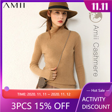 Autumn Winter Sweaters Female Tops Women Fashion Cashmere100-% Amii Minimalism Solid