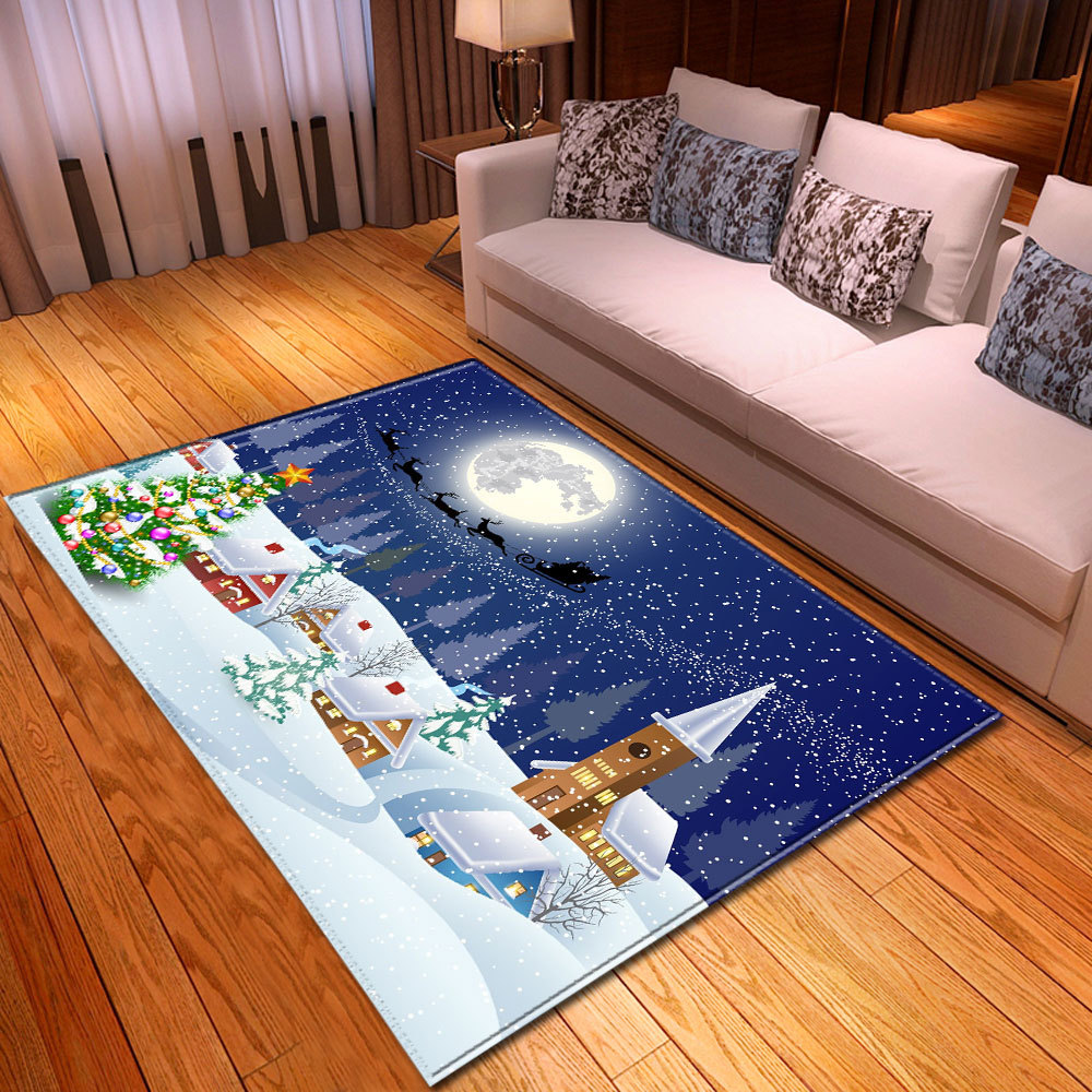 Christmas Snowflake Printed Carpets Xmas Party Area Rugs Kitchen Dinning Room Fireplace Floor Mats New Year Kids Christmas Gift
