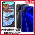 Мобильный телефон 6,72 дюйма P40 с глобальной прошивкой, 4 Гб ОЗУ + 64 Гб ПЗУ, четырехъядерный процессор, 8 Мп + 13 МП, фронтальная/задняя камера, Android ...