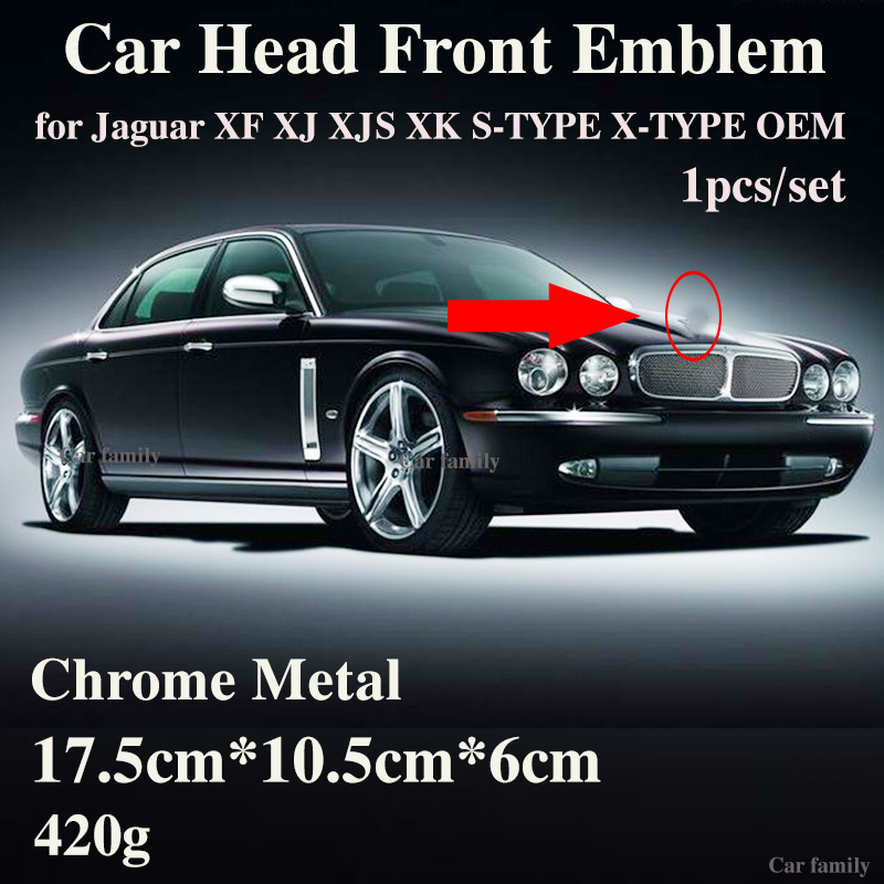 สัญลักษณ์รถ 1PCS สำหรับ Jaguar XF XJ XJS XK S-TYPE X-TYPE OEM จัดแต่งทรงผมด้านหน้า Hood หัวป้าย original Design Accessorie
