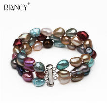 Fashion dyeing baroque 3 rows natural freshwater Multicolor pearl bracelets jewelry bangle for women wedding gift