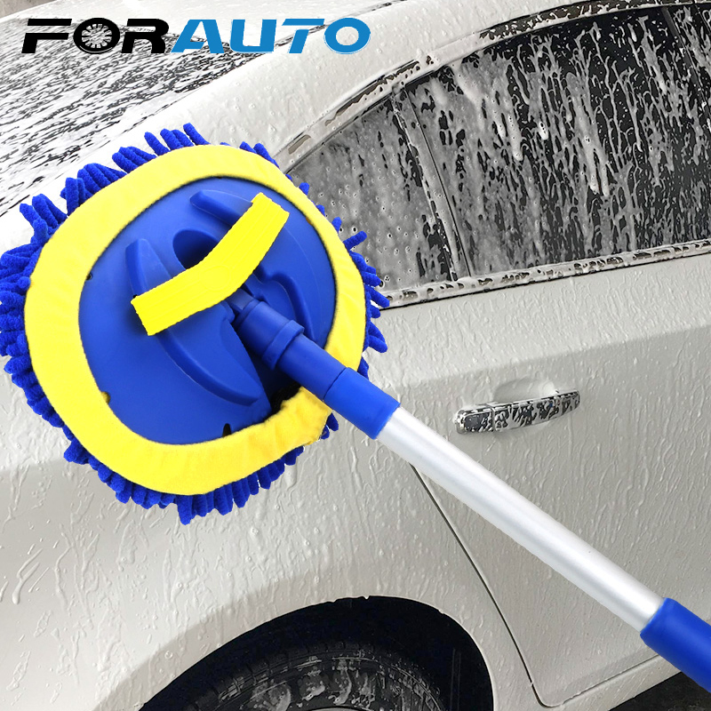 FORAUTO Car Cleaning Brush Telescoping Long Handle Auto Accessories Car Wash Brush Cleaning Mop Chenille Broom