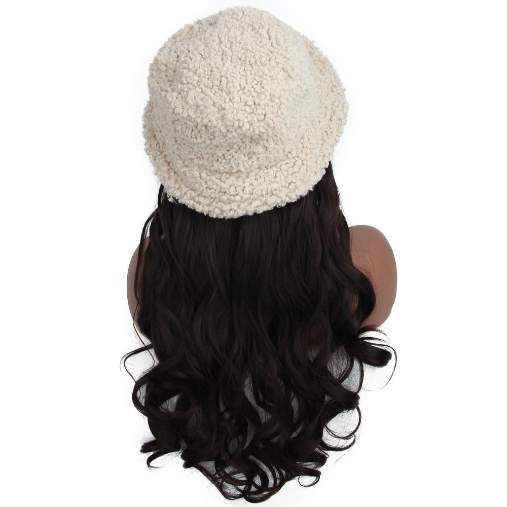 cabelo inverno quente chapéu de lã peruca