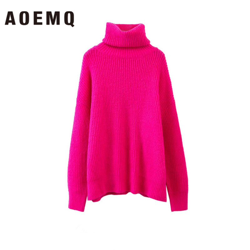 AOEMQ Autumn And Winter New Long Solid Colors Thick Sweater Knit Fluorescent High Collar Loose Pullover Sweater Female