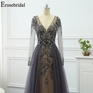 Image 3 - Robe de soirée à manches longues grise, ligne A, robe de soirée pour femmes, élégante, robe longue, de standing, robes de bal, perles exquises, 2020