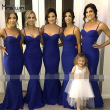 Mrs win Bridesmaid Dress Under 50 Elegant Sling Wedding Party Dress For Girls Mermaid Long Plus Size Vestido Madrinha HR113