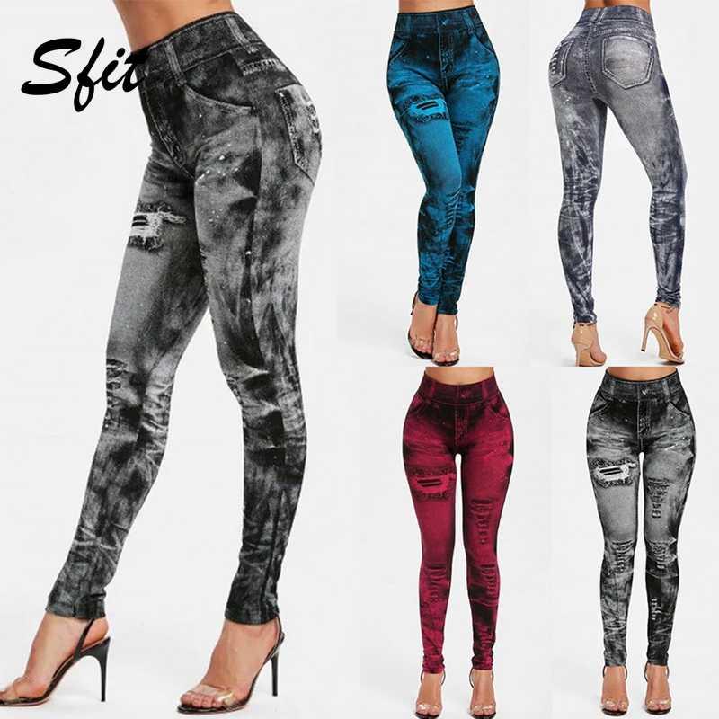 Sfit Frauen Gym Leggings Faux Denim Jeans Leggings Tasche Druck Leggings Casual Hohe Taille Bleistift Hosen Plus größe Yoga Hosen