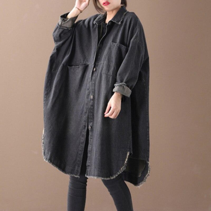 EWQ Vintage col rabattu manches longues bouton Denim chemises femmes ample surdimensionné noir Blouse 2019 automne hiver nouveau TD397