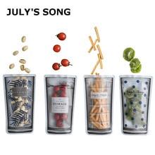 JULYS SONG 4pcs/set Moisture-Proof Sealed Food Storage Bag Portable Transparent Packaging Reusable Snack Container