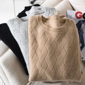 Image 1 - Jesienno zimowy autentyczny kaszmirowy sweter męski 100% dorywczo luźny O neck z długimi rękawami dzianinowy sweter męski dzianinowy wydłużony sweter