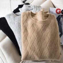 Outono inverno autêntico suéter de caxemira masculino 100% casual solto o pescoço de manga comprida malha pulôver homem camisola de fundo de malha