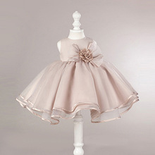 Girls Sleeveless Tutu Dress Big Bow Flower Girl Performance Dress Princess Dress stylish floral big bow girls dress