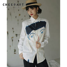 Белая дизайнерская рубашка черарт с большим принтом и длинным