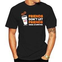 2021 lazer moda 100% algodão o-pescoço camiseta dunkin donuts não deixe beber marrom homem m